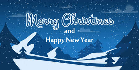 Merry Christmas and Happy New Year Greeting Flat Poster. Snowy Frost Winter Weather. Forest under Snow in Night. Fir and Trees over Highland Scene. Holiday Landscape. Vector Cartoon Illustration