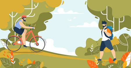 Sportive Men and Outdoors Activities on Nature. Riding Bicycle, Trekking and Walking. Cartoon Park Landscape. Active Lifestyle, Morning Exercising, Healthy Lifestyle. Vector Illustration