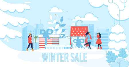 Winter Sale Lettering Poster for Fashion Shop and Boutique. Cartoon Women Choosing and Buying Christmas Gifts and New Year Presents. Snowy Cityscape. Shopping Bags Stack. Vector Flat Illustration