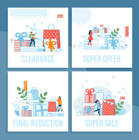 Shop Super Sales on Winter Holidays Cartoon Cards Set. Clearance, Special Offer, Final Reduction. Cupboard Present Boxes and Paper Shopping Bags Design. Happy People. Vector Flat Illustration