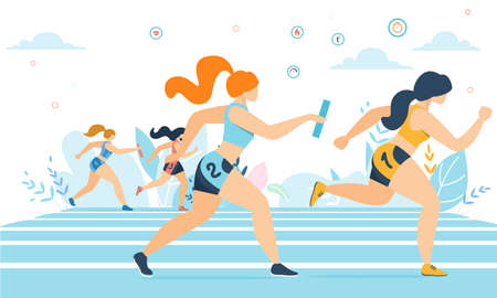 Cartoon Athlete Women Characters in Sportswear Taking Part in Running Race Marathon on Track. Jogging Sports Competition. Outdoor Workout, Exercise. Healthy Active Lifestyle. Vector Flat Illustration Ilustração