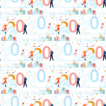 New Year Preparation in Celebration Flat Vector