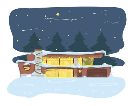Suburban House Covered with Snow New Year Night Illustration
