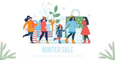 Winter Sale Flat Poster with Happy Women and Kids Ilustração