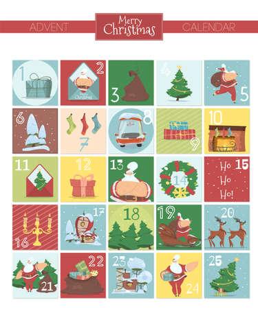 Christmas Advent Calendar. Xmas a Attributes Set