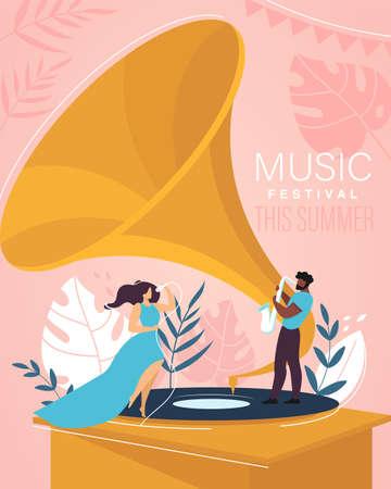 Music Summer Festival Cartoon a Invitation Flyer Illustration