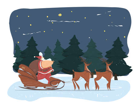 Cute Fat Santa Claus with Big Belly and Sack on Shoulder, Standing in Sledge Pulled with Reindeer Team on Night Background with Fir Trees Forest and Deep Snow under Sky. Vector Illustration