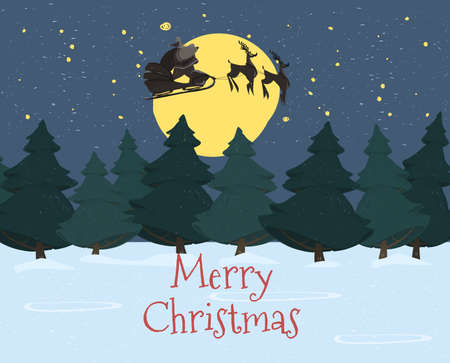 Santa Claus with Sack Riding Reindeer Sledge Flying in Night Sky on Snowy Background with Shining Moon Light above Fir Trees Forest Merry Christmas Eve, New Year Scene Cartoon Flat Vector Illustration Illustration