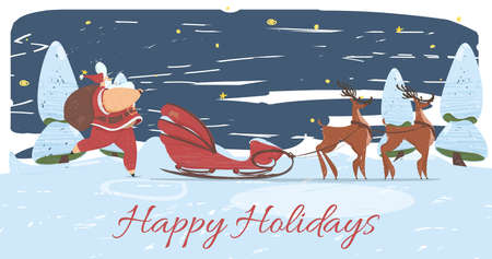 Happy Holidays Poster or Greeting Card. Prosperous Santa Claus in Red Costume Carry Sack with Gifts on Shoulder Walking to Sledge with Reindeer Team in Night Forest. Cartoon Flat Vector Illustration