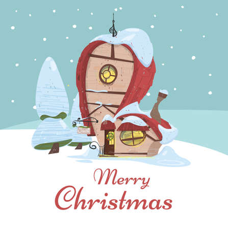Santa Claus House Stand at Snowy Landscape Background. Merry Christmas Greeting Card with Cute Workshop Fantasy Building with Signboard and Wreath on Door. Cartoon Flat Vector Illustration, Banner