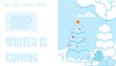 Creative Landing Page Layout. Preparation for Winter Holidays. Cartoon Flat Fir Trees and Bushes in Snowy Park. Decorated Spruce. Festive Design. Informational Text. Vector Illustration Imagens - 134328745