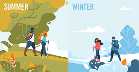 Summer and Winter Set. Seasonal Activities for People. Sport and Leisure. Mountaineering and Hiking, Walking and Trekking. Snow Hills and Green Highland. Cold and Warm Weather. Vector Illustration 版權商用圖片 - 134328778