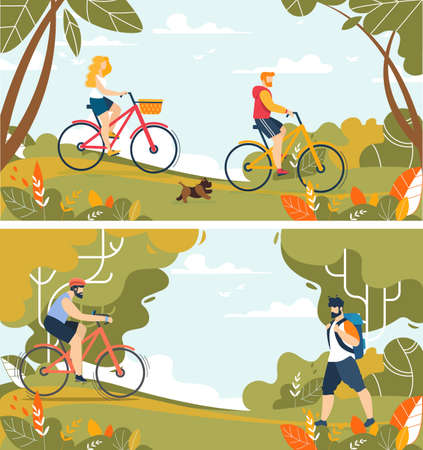 Happy People Tourists Characters on Nature Set. Man and Woman Riding Bicycle. Hiking with Backpack. Trekking, Cycling. Going on Picnic in Forest. Friends, Family Rest. Vector Cartoon Flat Illustration
