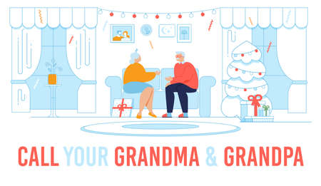 Family Network Motivation Flat Poster with Lettering Quote. Grandmother and Grandfather Characters Sitting on Sofa in Living Room Along at Home. Call Relatives on Winter Holidays. Vector Illustration