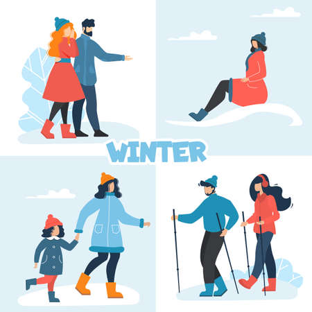 Winter Set with Happy People Having Fun Outdoors. Man and Woman Couple, Cheerful Teenager Girl, Mother and Daughter, Married Family Pair. Hiking, Walking and Satisfaction. Vector Cartoon Illustration