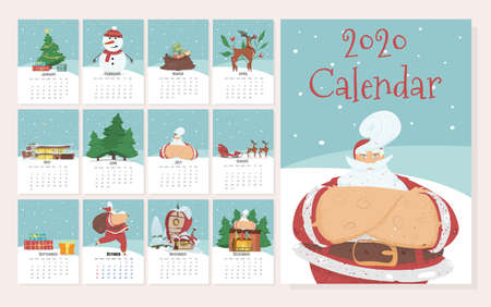 Monthly Creative Calendar 2020 in Cute Hand Drawn Style with Christmas and New Year Traditional Attributes and Characters. Santa Claus, Snowman. Editable Template. Cartoon Flat Vector Illustration