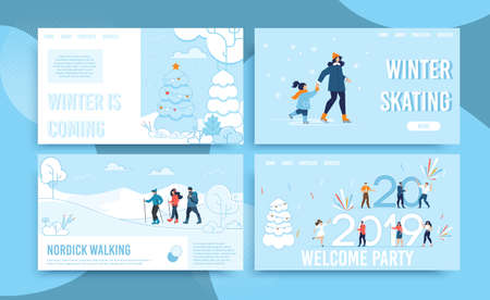 Winter Holidays Celebration and Fun Webpage Set. Online Service Advertising Exciting Active Recreation and Sportive Activities. Skating, Nordic Walking, Office Party. Landing Page. Vector Illustration