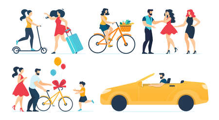 Happy People Character Sparetime Activities Set. Family Giving Bicycle as Gift to Son, Women Shopping, Riding Scooter, Cycling, Travelling. Man Driving Car. Female Friends Meeting. Vector Illustration Illusztráció