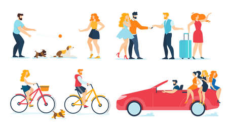 Happy People Travelling, Walking, Resting Flat Set. Cartoon Men and Women Couples Playing Dog Pet, Receiving Key from Rent or Bought Auto, Driving Car, Riding Bikes. Vector Illustration