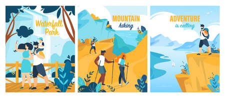 People Visiting Waterfall Park. Tourist Group during Mountain Hiking. Summer Trip and Adventures Calling. Advertising Banners or Posters Flat Set. Tour Agency. Vector Cartoon Illustration