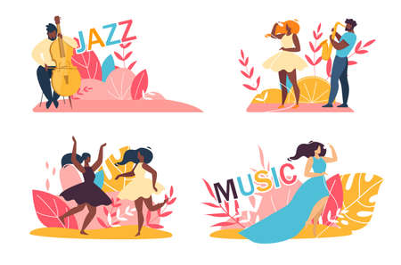 Music Jazz Festival. Cartoon Afro-American, Caucasian Talented People Male Female Character Having Fun, Dancing, Singing Song in Microphone, Playing Sax and Double Bass Set. Vector Flat Illustration 일러스트