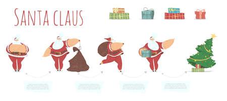 Steps Santa Claus Delivery Presents under Fir Tree 版權商用圖片 - 134829810