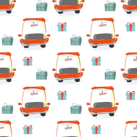 Seamless Pattern with Gift Boxes and Red Cars  イラスト・ベクター素材