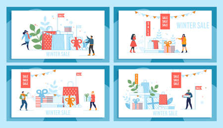 Winter Holidays Sale Market Promotion Poster Set. Man and Woman Choosing Gifts for Relatives and Lovers. Tiny People Characters and Presents Wrappings Pile Design. Vector Cartoon Flat Illustration Ilustrace
