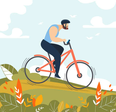 Athletic Man Character Riding Bicycle. Male Cyclist in Sportswear Protective Helmet on Sport Bike. Park or Forest Natural Landscape. Fitness, Active Weekend, Exploration Outdoors. Vector Illustration