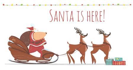 Santa is Here Banner or Postcard Fat Santa Claus