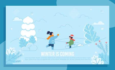 Kinderfiguren und Spaß. Ältere Schwester und jüngerer Bruder spielen mit Schnee im Hof, Park oder Wald. Winter-Gruß-Banner. Rodeln, Wandern. Genießen Sie Feiertage. Ferien. Vektor-flache Illustration Vektorgrafik
