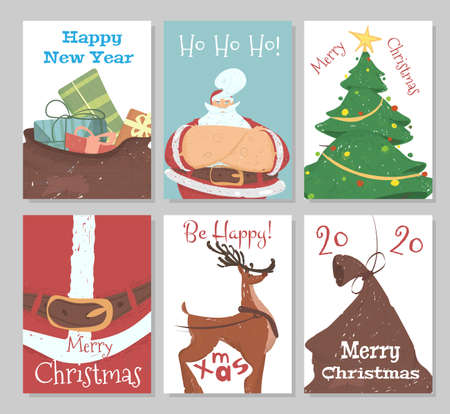 Set of Christmas Banners, Flyers or Greeting Cards with Festive Elements and Typography for Print. Sack with Gifts, Santa Claus, Fir Tree, Reindeer, 2020 New Year Cartoon Flat Vector Illustration
