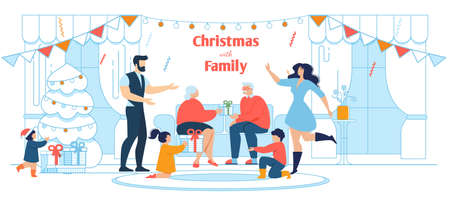 All In The Family Xmas Celebration Flat Poster
