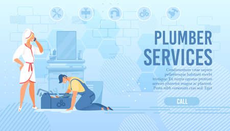 Plumber Online Service Flat Landing Page. Mistress Wearing Bathrobe and Towel on Head Calling Master by Phone. Cartoon Repairman Character Eliminating Pipe Blockage and Leaks. Vector Illustration Standard-Bild - 134789091
