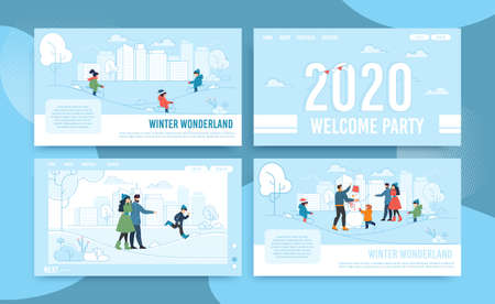 Flat Landing Page Set in Frame Offering Winter Fun and Joy. Wonderland for Adults and Children, Entertainments in City Park. Vector. Xmas and New Year Party Celebration. Cartoon Illustration
