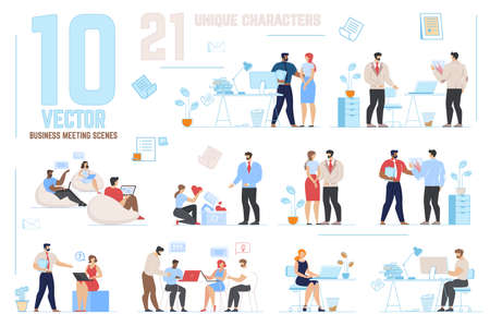 Business Meeting Scenes Set with Unique Cartoon Characters. Men and Women Partners Taking Part in Negotiation, Brainstorming Process. Office People Communicating. Flat Vector Illustration
