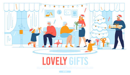 Webpage Banner Offer Christmas Gifts for Relatives. Cartoon Happy Families Characters Giving Presents. Grannies Sit on Sofa, Parents and Children with Boxes Stand in Living Room. Vector Illustration