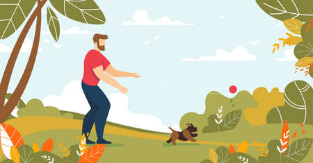 Man Throwing Ball Playing with Dog in Forest or Park. Guy Spending Time with Puppy. Male Owner Character Walking Pet on Meadow. Outdoor Activity. Rest Time on Nature. Flat Cartoon Vector Illustration