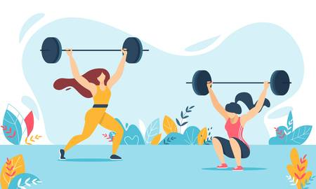 Cartoon Weight Lifter Woman Characters Training. Strong Girls in Sportswear Lifting and Squatting Heavy Barbell. Female in Tracksuits. Weightlifting Fitness, Workout, Sport. Vector Flat Illustration Illustration