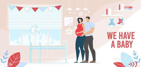 Young Married Man Woman Couple Waiting Baby Birth. Loving Husband Embracing Pregnant Wife Stand near Bed for Infant in Room. Happy Parenting. Childbirth Preparation. Vector Flat Cartoon illustration