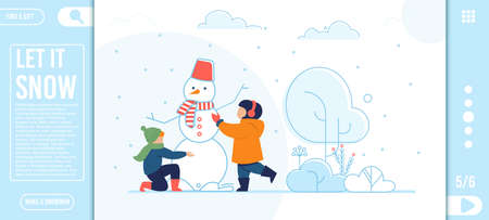 Flat Landing Page with Cartoon Happy Kids Characters Making Snowman in Snowy Park during Winter Holidays Vacation. Outdoors Recreation. Vector Illustration with Editable Text and Inspiration Quote