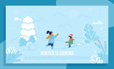 Children Characters and Fun. Elder Sister and Younger Brother Playing with Snow in Yard, Park or Forest. Winter Greeting Banner. Sledding, Walking. Enjoy Holidays. Vacation. Vector Flat Illustration 向量圖像