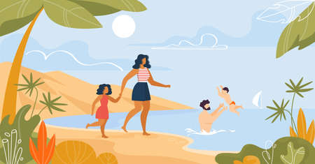 Happy Family Rest on Tropical Beach near Sea Cartoon. Mother with Daughter Walking on Seacoast. Father Swimming with Son, Teaching Boy Move in Water. Vector Summertime Flat Illustration