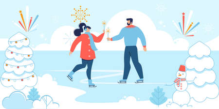 Cartoon Man and Woman in Love Skating on Rink. Loving Girlfriend and Boyfriend Characters Celebrating New Year and Christmas Outdoors in Snowy Park. Festive Scene. Vector Flat Illustration Illusztráció
