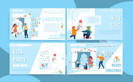 Christmas Celebration. Party Time Organization and Preparation for Winter Holidays. Goods for Home Decoration and Gifts Giving. Outdoors Activities for Children. Landing Page Set. Vector Illustration Ilustração