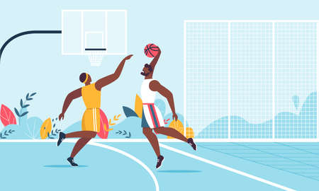 Professional Afro-American Male Team Playing Basketball on Court Cartoon. Sportsmen Characters in Sportswear Taking Part in Sport Competition. Man in Fighting for Ball. Vector Flat Illustration