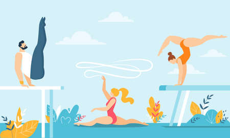 Cartoon Gymnasts Acrobats Male and Female Characters Training with Sport Equipment over Natural Backdrop. People in Sport Gymnastic Positions. Artistic and Rhythmic Exercising. Vector Illustration