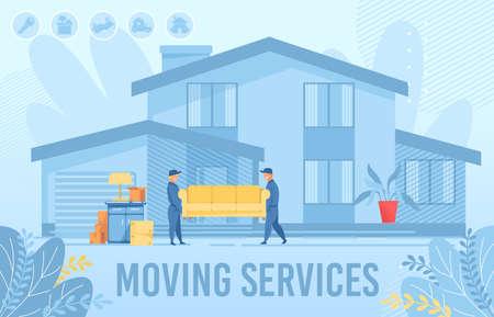 Affiche publicitaire de service de déménagement d'appartement à domicile. Chargeurs d'hommes, personnages masculins de déménageurs transportant un canapé. Bâtiment extérieur de maison, meubles et boîtes en carton dans la cour. Livraison. Illustration vectorielle plane