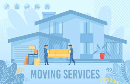 Home Apartment Moving Service Advertising Poster. Man Loaders, Movers Male Characters Carrying Sofa. House Exterior Building, Furniture and Cardboard Boxes in Yard. Delivery. Flat Vector Illustration