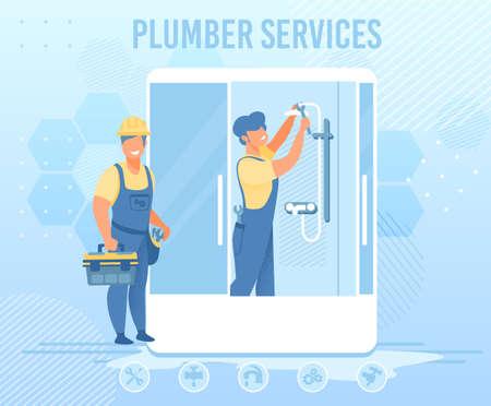 Plumbers Service for Emergency Help Flat Banner Ilustração